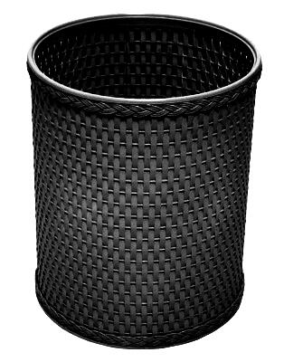 R426BK Chelsea Collection Decorator Color Round Wicker Wastebasket in