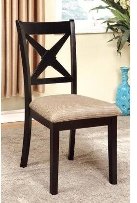 Liberta Cm3776sc-2pk Side Chair With Light Tan Padded Fabric Seat And Crossed Back In Dark Oak And