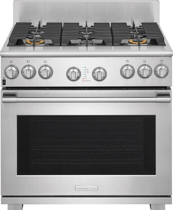 E36DF76TPS 36 inch  Pro Style Dual Fuel Range with 6 Burners  6.4 cu. ft. Oven Capacity  CustomConvect Convection  Smooth-Glide Oven Racks  in Stainless