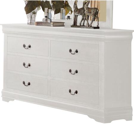 Louis Philippe Collection 23835 57 inch  Dresser with 6 Drawers  Brushed Nickel Hardware  Center Metal Drawer Glides  Pine Wood and Gum Veneer Materials in White