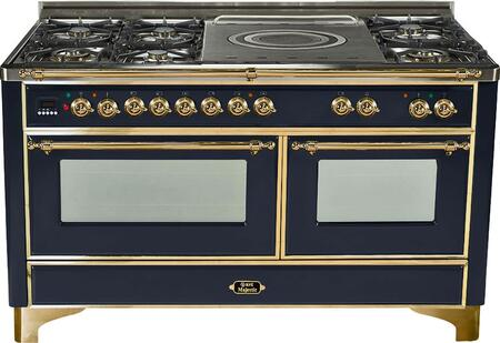 "UM-150-SDMP-N 60"""" Dual Fuel Range with Brass Trim  French Top  6 Semi-Sealed Burners  Multi-Function European Convection Oven  Electric Oven  Rotisserie  and"" 811979"