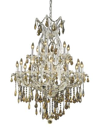 2801D32C-GT/RC 2801 Maria Theresa Collection Hanging Fixture D32in H42in Lt: 18+1 Chrome Finish (Royal Cut Golden