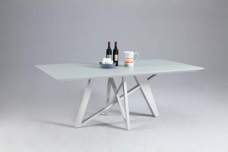 KATIE-DT KATIE DINING Wood Painted Grey Glass Dining Table Top with Metal Painted Grey