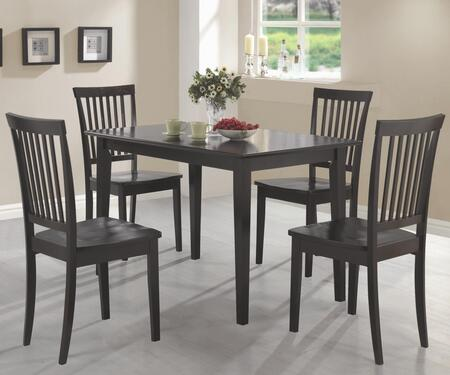 Oakdale 150152 5 PC Dining Room Set with 4 Side Chairs  Rectangular Table  Vertical Slat Chair Back  Flat Seats  Tropical Wood and Okume Veneer Material in