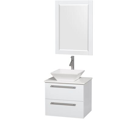 Wcr410024sgwwsd2wm24 24 In. Single Bathroom Vanity In Glossy White  White Man-made Stone Countertop  Pyra White Porcelain Sink  And 24 In.