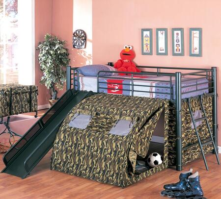 7470 Coaster Twin Size Kids Metal Loft Bed With Slide in