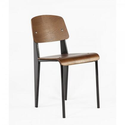 Standard DC595WALBLK Chair with Plywood Seat and Back  Waterfall Edge Seat and Powder Coated Steel in Walnut and