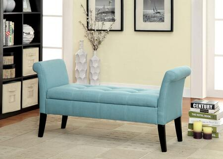 Doheny CM-BN6190BL Storage Bench with Contemporary Style  Curved Arms and Legs  Fabric Storage Bench in