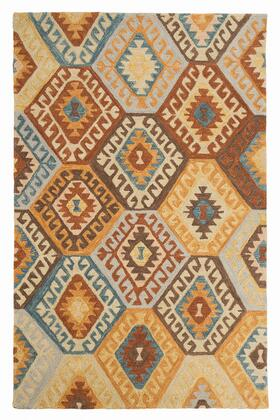 Calamone R401561 8' x 10' Large Size Rug with Kilim Design  Hand-Tufted  Wool Material and Backed with Cotton in Multi