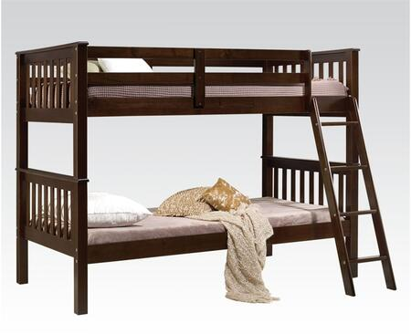 Searra Collection 37180A Twin Over Twin Size Bunk Bed with Brazil Taeda Pine Wood  Supported Slats  Ladder and Easy Access Guard Rails in Espresso