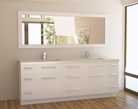 J84-DS-W Moscony 84 inch  Double Sink Vanity Set in