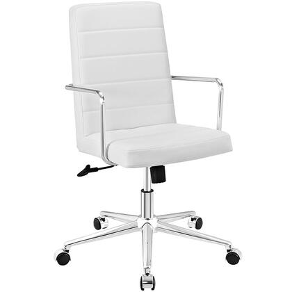 Cavalier Collection EEI-2124-WHI Office Chair with Swivel Seat  Adjustable Height  Dual-Wheel Nylon Casters  Brushed Stainless Steel Armrests  Polished Chrome
