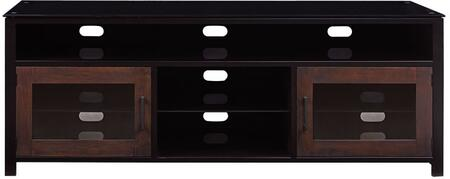 Bedford BFA63-94541-MC1 63 inch  TV Stand with Black Glass Top  Tempered Safety Glass Shelves  And CMS Cable Management in Cacao
