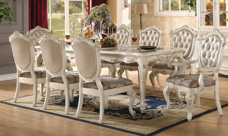 Chantelle Collection 63540CH 9 PC Dining Room Set with Dining Table + 2 Arm Chairs + 6 Side Chairs in Pearl White