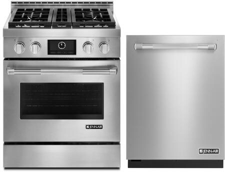 2-Piece Kitchen Package With JGRP430WP 30 inch  Freestanding Gas Range and JDB9000CWP 24 inch  Built In Fully Integrated Dishwasher in Stainless