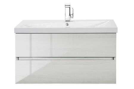 Sangallo Collection FVWHITEB36 36 inch  Wall Mount Single Sink Vanity with 2 Soft Close Drawers in Gloss White