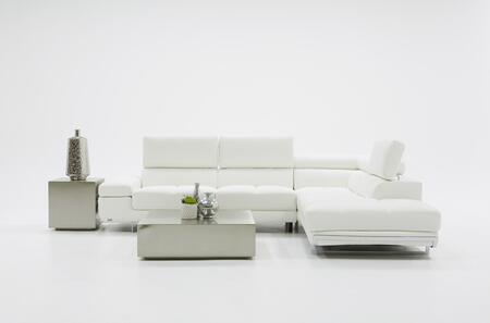 Divani Casa Myst Mini Collection VGKNK8317-ECO-WHT 117 inch  2-Piece Eco-Leather Sectional Sofa with Left Arm Facing Sofa and Right Arm Facing Chaise in