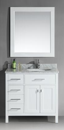 DEC076D-W-L London 36 inch  Single Sink Vanity Set in White Finish with Drawers on the
