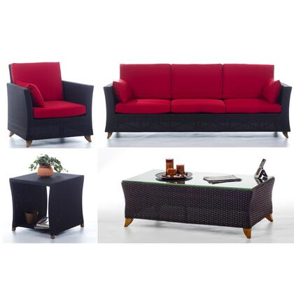 PR90-SET-R 4-Piece Patio Set with Sofa  Arm Chair  Coffee Table and Side Table in