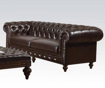 Shantoria Collection 51315 95 inch  Sofa with Nail Head Trim  Rolled Arms  Loose Seat Cushions  Turned Legs  Wood Frame and Bonded Leather Upholstery in Dark Brown