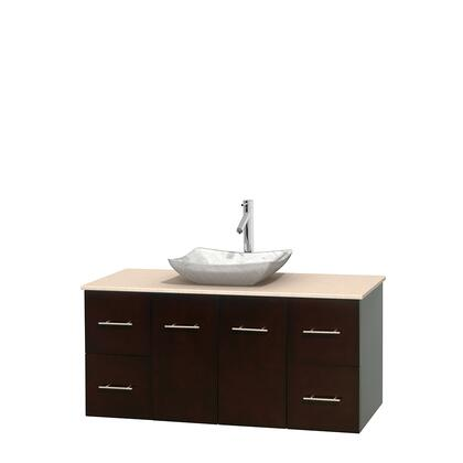 WCVW00948SESIVGS3MXX 48 in. Single Bathroom Vanity in Espresso  Ivory Marble Countertop  Avalon White Carrera Marble Sink  and No