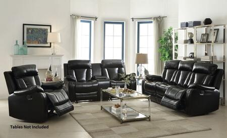 Isidro 52255SLR 3 PC Living Room Set with Sofa + Loveseat + Recliner in Black