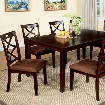 Baxter CM3420T-7PK 7 Pc. Dining Table Set with Transitional Style  Criss-Cross Design Chair  Padded Microfiber Seat  Solid Wood  Wood Veneer and Others in Dark