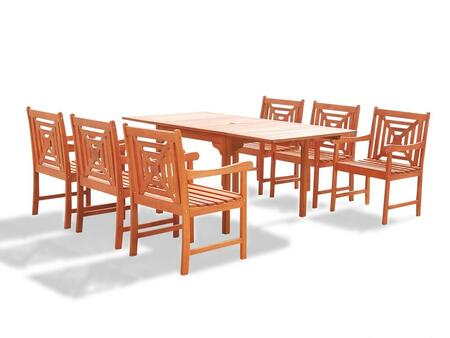 V1394set14 Malibu Eco-friendly 7-piece Outdoor Hardwood Dining Set With Rectangle Extention Table And Arm