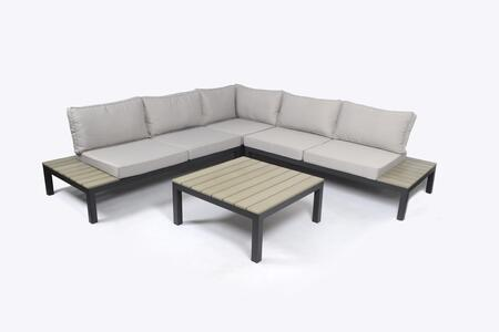 Lakeview Collection SKY-KD-SECTIONAL 4-Piece Outdoor Patio Sectional Set with 2 Loveseats  Corner Chair and Coffee Table in Light