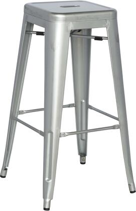 8015-BS-SLV 30 Galvanized Steel Bar Stool in Shiny