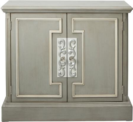 DS-D115005 Door Chest with White Frame Overlay  Plinth Style Base and Brushed Nickel Finished Hardware in
