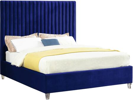 Candace Collection CandaceNavy-F Full Size Bed with Velvet Fabric Upholstery  Channel Tufted Headboard  Slats Included and Acrylic Feet in