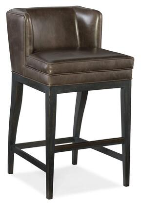 Jada 300-20057 Contemporary Barstool with Tapered Legs  Piped Stitching and Aniline Top Grain Leather Upholstery in Memento Medal