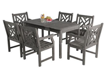 V1297SET9 Renaissance Outdoor Hand-scraped Hardwood Rectangular Table and 6 V1301 Renaissance Series Outdoor Hand-scraped Hardwood