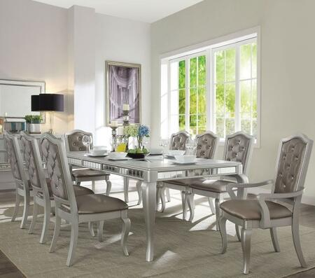 Francesca Collection 62080TC 9 PC Dining Room Set with Extendable Dining Table  6 Side Chairs and 2 Arm Chairs in Champagne
