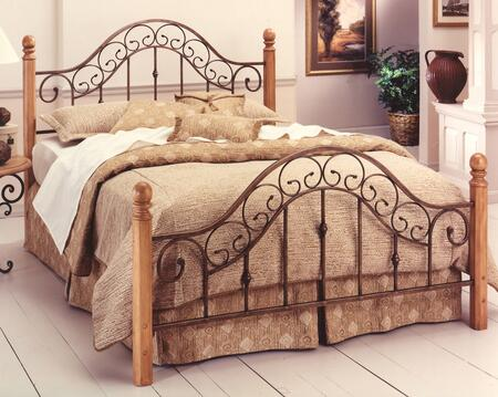 San Marco Collection 310BQR Queen Size Poster Bed with Headboard  Footboard  Rails  Delicate Metal Scrollwork  Wood Posts and Round Finials in Brown Copper and