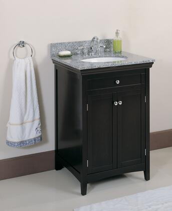 WF6807-DRK 24 inch  Single Sink Vanity with Granite Top and Backsplash  Dark