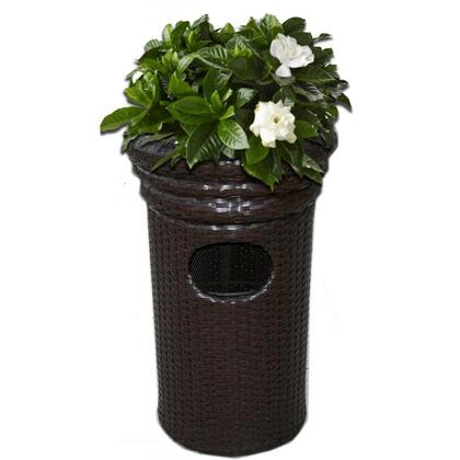 DM-GC-502 Casa Concealed Trash Bin with All Weather Wicker Material  Lift-Off Lid  Resists Fading and Sturdy Powdercoated Aluminum Frame in Dark