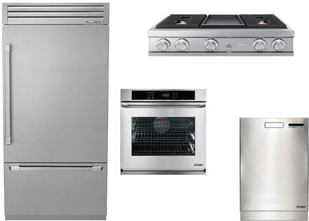 4-Piece Stainless Steel Kitchen Package with DYF36BFTSR 36 inch  Bottom Freezer Refrigerator  DTT36M974AS 36 inch  Gas Cooktop  RNWO130PS 30 inch  Single Wall Oven  and