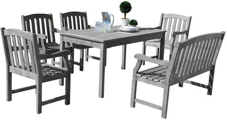 Renaissance V1297SET23 6 PC Outdoor Dining Set with Rectangle Table  4-Foot Bench  4 Armchairs  Acacia and Hand-Scraped Hardwood Materials in Grey