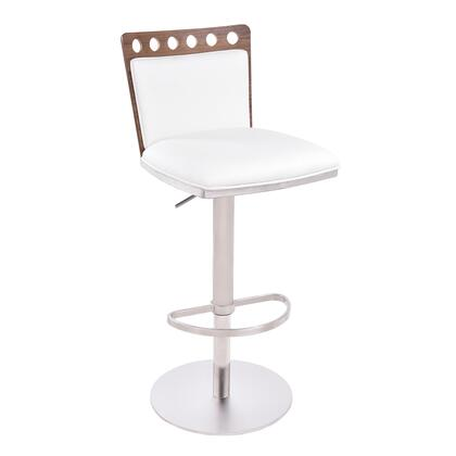 LCBRBAWH Brooke Barstool in Brushed Stainless Steel finish with White PU and Walnut