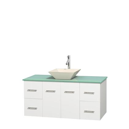 Wcvw00948swhggd2bmxx 48 In. Single Bathroom Vanity In White  Green Glass Countertop  Pyra Bone Porcelain Sink  And No
