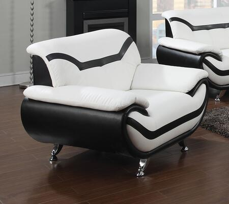 Rozene Collection 51157 47 inch  Chair with Chrome Legs  Tufted Back Cushions  Wood Frame and Bonded Leather Upholstery in Black and White