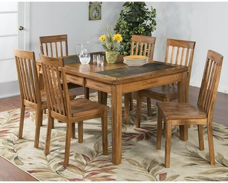 Sedona Collection 1273RODT6C 7-Piece Dining Room Set with Dining Table and 6 Chairs in Rustic Oak