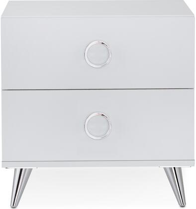 Elms Collection 97334 20 inch  Nightstand with 2 Drawers  Chrome Tapered Legs  Chrome Hardware and Medium-Density Fiberboard