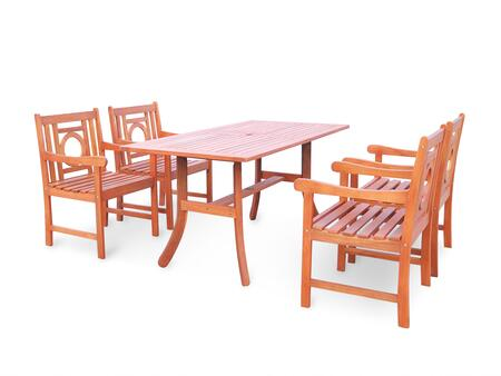 V189SET14 Malibu Eco-friendly 5-piece Outdoor Hardwood Dining Set with 1 Rectangle Table (V189) and 4 Arm Chairs