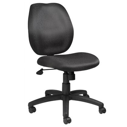 B1016-BK Task Chair with Mid-back Styling  Height Adjustment  Adjustable Tilt Tension  Upright Locking Position and Hooded Double Wheel Casters in