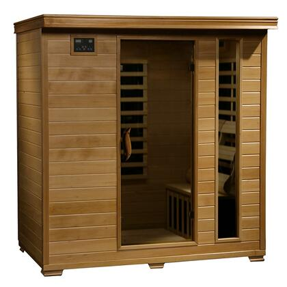 SA2418 Monticello 4 Person Infrared Sauna with 9 Carbon Heaters  E-Z Touch Control Panel  Oxygen Ionizer  CHROMOTHERAPY System  Recessed Interior Lighting