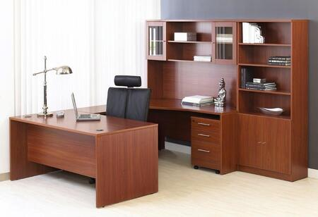 1C100010LCH Cherry Executive U Shaped Desk with Hutch and