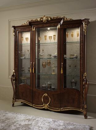 """Donatello_DONATELLO3DCHINA_78""""_China_with_3_Doors__3_Glass_Shelves_and_Carved_Detailing_in_Walnut"""